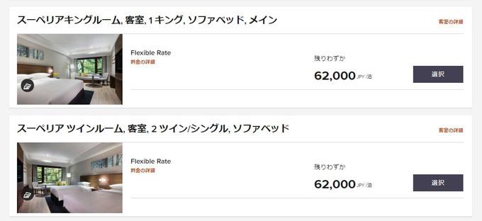 軽井沢マリオットホテルの公式サイトの料金
