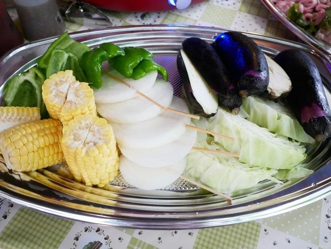 プライベートBBQで用意された野菜